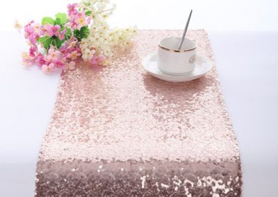 Location chemin de table sequins rose Gold 5€
