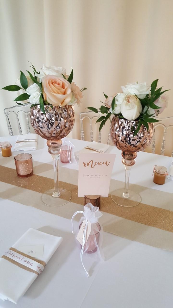 Location vase sur pied rose Gold : 4 €